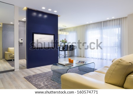 Luxury Modern Living Room and Domestic Kitchen Design  - stock photo