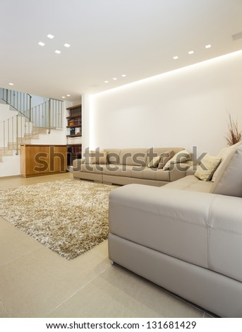 Luxury Modern Living Room This Image Was Taken From Three - stock photo