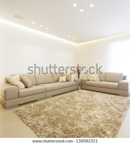 Luxury Modern Living Room This Picture Is A Merge Of Three Different Images - stock photo