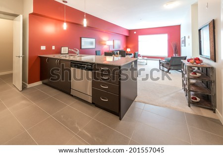 Luxury modern living site with the kitchen counter. Interior design.
