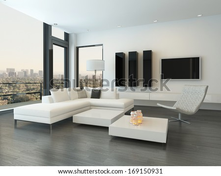 Luxury modern white living room interior - stock photo