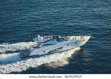 luxury motoryacht - stock photo