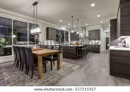 Luxury New Construction Home With Open Floor Plan: Dining And Kitchen Design.  Rustic Wood