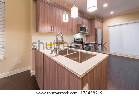 Luxury nicely decorated modern kitchen. Interior design of a brand new house.