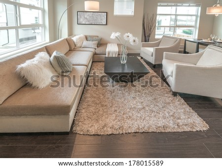 Luxury nicely decorated modern living room, suite with sofa and chairs. Interior design of a brand new house. - stock photo
