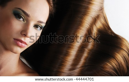 Luxury of beautiful brunette long healthy female  straight hair - stock photo