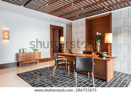 luxury office room interior - stock photo
