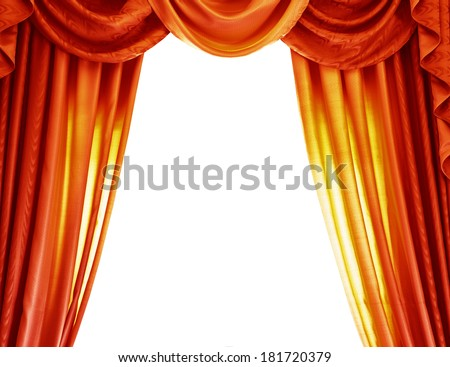Luxury orange curtains isolated on white background, abstract border, open curtain on the theater, theatrical performance concept - stock photo