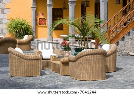 Luxury outdoor furniture in a typical patio - stock photo