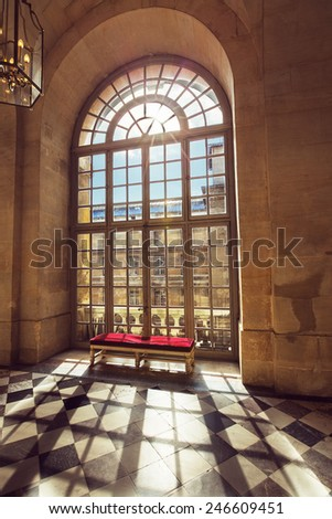 Luxury palace glass windows in Versailles palace,  France - stock photo