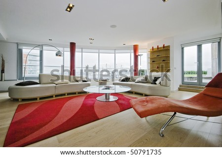 luxury penthouse apartment with designer modern furniture - stock photo