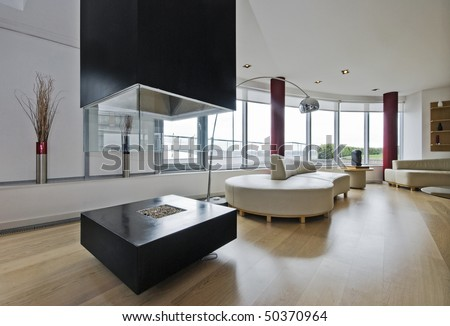 luxury penthouse living room with modern fireplace - stock photo