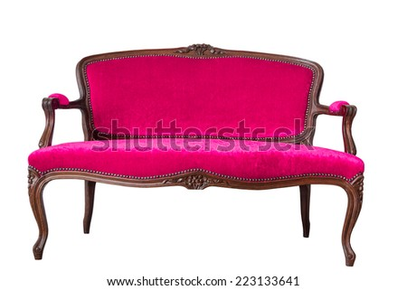 Luxury Pink Vintage Sofa On White Background