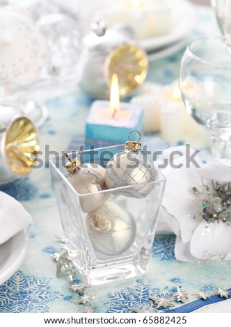 Luxury place setting in white  for Christmas or other event - stock photo