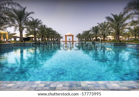 Luxury Pool in a Hotel in Ras al Khaimah, UAE - stock photo