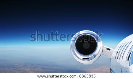 Luxury Private Jet Cruising at High Altitude - great for banner - stock photo