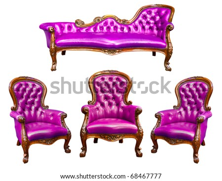 luxury purple leather armchair isolated - stock photo