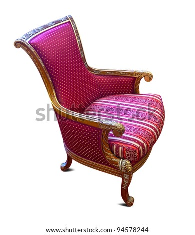 Luxury red armchair with golden details. Isolated on white background - stock photo