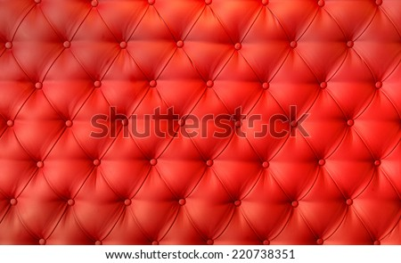 Luxury red leather cushion close-up background  - stock photo