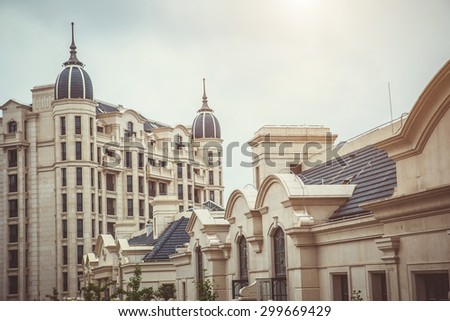 Luxury residential building area in classic style. - stock photo