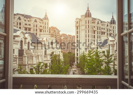 Luxury residential building area in classic style. View from balcony. London luxury balcony view, London luxury balcony view  city, balcony view in London, balcony view house, balcony view landmark - stock photo
