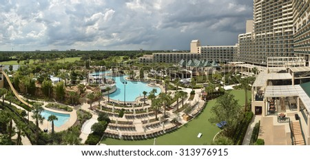 Luxury resort and pool grounds in Florida seen from above - stock photo