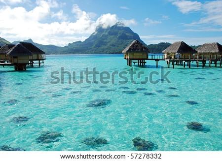 luxury resort at bora bora - stock photo