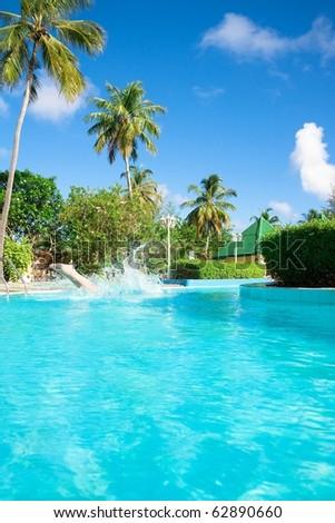 Luxury Resort Pool - stock photo
