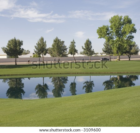 Luxury Retirement Golf Course Water Reflection