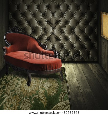 Luxury retro room interior - stock photo