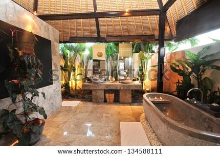 Luxury Room bathroom in a tropical villa - stock photo