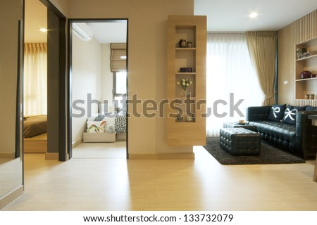 luxury room in condominium with living corner. - stock photo