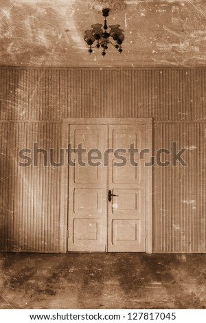 luxury room with a door and a lamp retro - stock photo