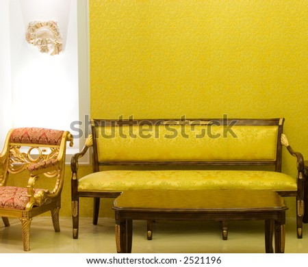 Luxury room with free space on the wall - stock photo