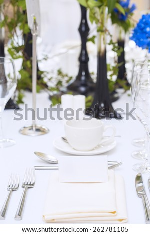 Luxury scottish wedding gala table setting with blank personal greeting card - stock photo