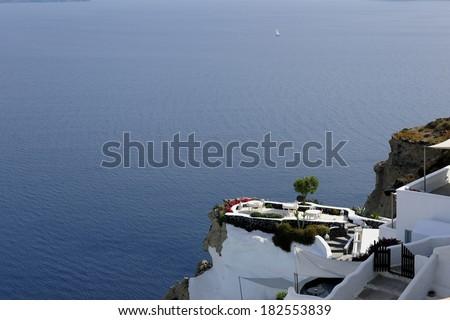 Luxury sea view balcony in Greece - stock photo
