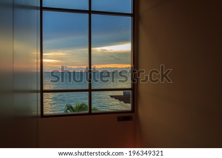 Luxury Sea View From Room Window As Twilight - stock photo