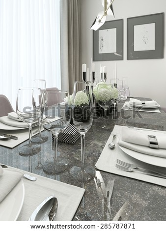 Luxury Serving table with marble top. With beautiful decor, glasses, plates and napkins. 3d render.
