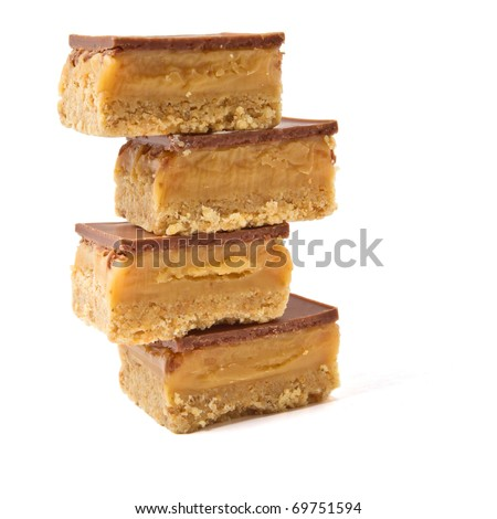Luxury Shortbread called millionaires shortbread isolated on white. - stock photo