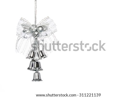 Luxury Silver jingle Bells with bowknot, hanging Decoration, isolated on white - stock photo