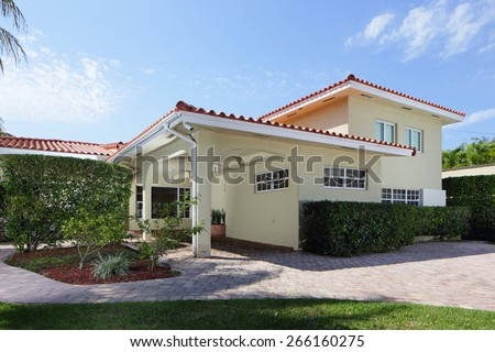 Luxury single family house shot from the street - stock photo