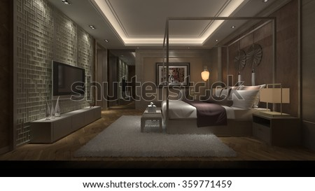 Luxury sleeping room 3d design