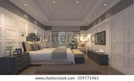 Luxury sleeping room 3d design - stock photo