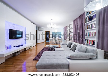 Luxury specious living room interior with dining area - stock photo