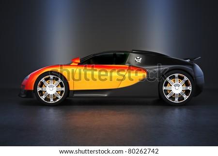 Luxury Sports car with studio lighting, 300 D.P.I image - stock photo