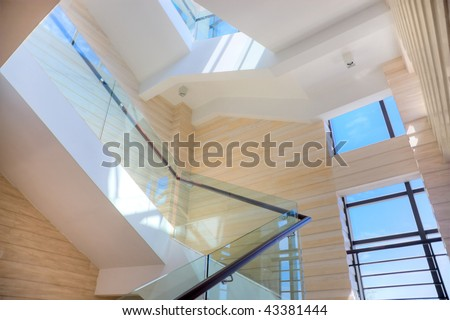 Luxury staircase of hall - stock photo