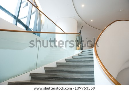 luxury stairs of  modern industrial building. - stock photo