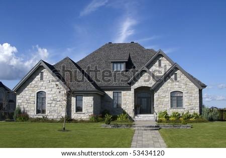 luxury stone house - stock photo