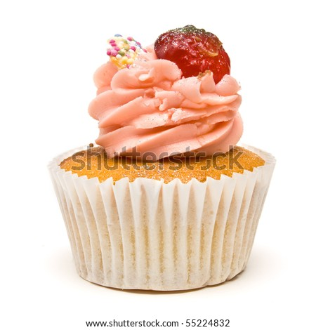 Luxury Strawberry Cup Cake from low perspective isolated against white background.