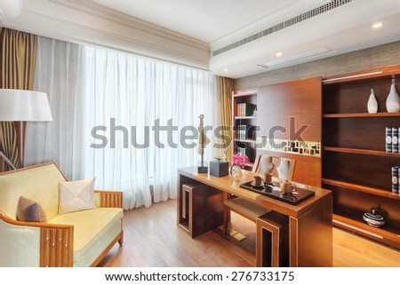 luxury study interior and decoration - stock photo